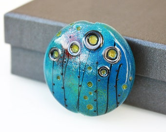 Focal Lampwork Bead - Turquoise - Glass beads supplies.
