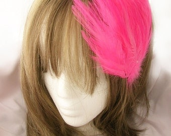 Hot Pink feather fascinator blank Base (5 fastener option) Derby feather cap,fascinator for mardi gras, kentucky derby, or tea party