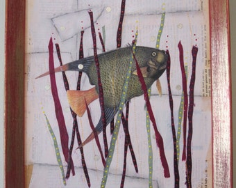 Fishy fish collage, recycled paper art, 2D framed art