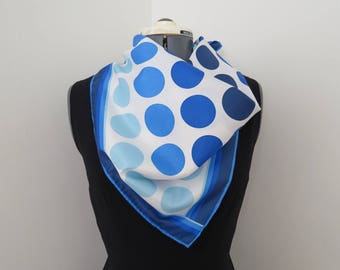 """1970s Blue and White Polka Dot Circles Scarf - 27"""" square"""