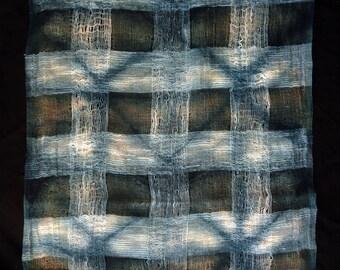 Sheer cotton shibori indigo scarf