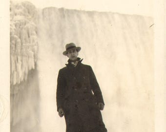 Man standing in front of a Water Fall Vintage Antique Photograph
