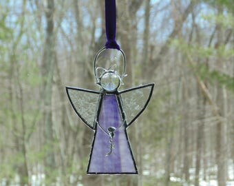 Stained glass angel, purple angel suncatcher ornament, gift for her, Christian faith hope, shooting star angel gift under 25