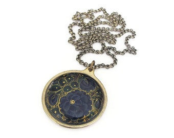 Vintage Floral Enamel Gold Tone Pendant Necklace - Navy Blue, Gold Accents, HIT USA, Vintage Necklace, Vintage Jewelry