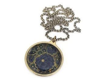 Vintage Floral Enamel Gold Tone Pendant Necklace - Navy Blue, Gold Accents, HIT USA, Vintage Necklace, Vintage Jewelry