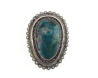 Israel Sterling Silver Eilat Stone Brooch Pendant - Green Blue Stone, Israel Jewelry, Vintage Brooch, Vintage Pendant, Vintage Jewelry