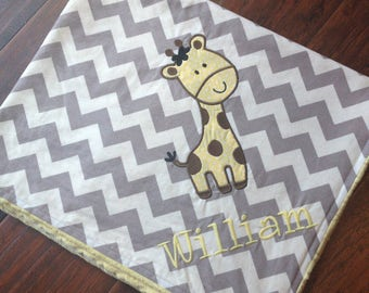 Giraffe Blanket -Personalized Baby Blanket- Minky Baby Blanket- Chevron Minky Blanket- Giraffe Applique Baby Blanket