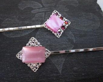 Pink Bobby Pins -- Girl's Pink Hair Pins -- Crystal Bobby Pins -- Abalone Pins -- Pink Hair Sticks -- Pink Gem Hair Pins --Abalone Accessory