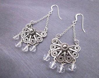 Swarovski Bead Earrings -- Antique Sterling Earrings -- Silver Filigree & Crystal Earrings -- Beaded Bling Earrings -- Beaded Fan Earrings