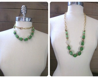 Green Aventurine Necklace -- Long Green and Gold Necklace -- Apple Green Necklace -- Green Gem Necklace -- Green Gold & White Necklace
