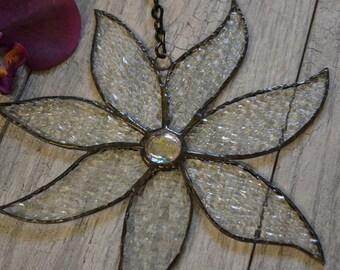 Flower Suncatcher, Sun Catcher, Stained Glass, Iridescent, Gardeners Gift, Home Decor