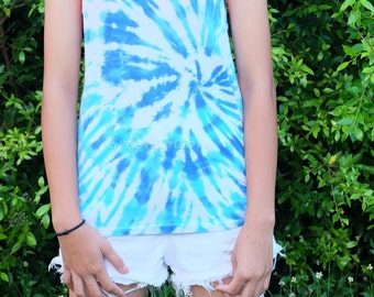 SALE - SIZE S - Blue Tie Dye Tank Top Hippie Tshirt Unisex Festival Clothing Trippy Psychedelic Clothing
