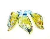 RESERVED Destash- Butterfly Wings Set of 3, Lampwork Beads, Butterfly Wings, Wing Beads, Destash Lampwork, Butterfly Wing Beads