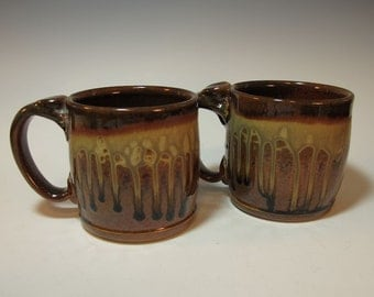 Two Large Brown Ash Glazed Beer Steins/Mugs - Holds 18 ounces each - In Stock