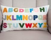 Alphabet Pillow - Pillow Cover - ABC's - Decorative Pillow - Nursery Decor - Colorful - Felt - Lumbar Pillow - Montessori - Baby Pillow