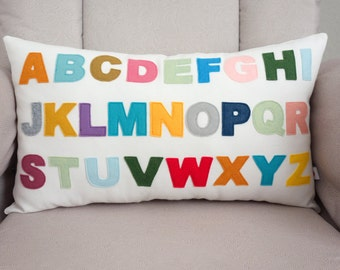 Alphabet Pillow - Pillow Cover - ABC's - Decorative Pillow - Nursery Decor - Colorful - Felt - Lumbar Pillow - Montessori - Baby Pillow