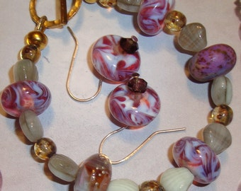 Bracelet and Earrings Set Made With Lampwork Artisan Made Glass Beads, BOHO Design, Lavender, Purple, Pink, Labradorite Beads