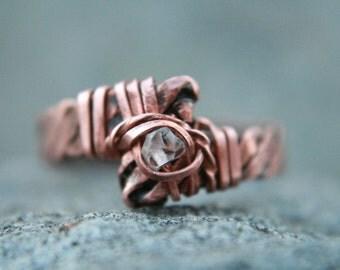 Herkimer ring,size 8, Crystal Dazzler Ring, Pakimer,artisan, indie artist, stackable ring,rustic elegance, Bibi, Lemurian Diamond