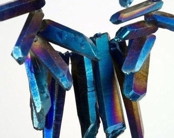 ON SALE Titanium Quartz Sticks Crystal Points Spikes Aura Quartz AB Coated Mined Quartz  5-Inch Strand 18x4 to 25x5mm - Discounted for Size