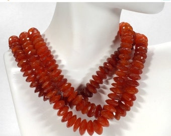 ON SALE Carnelian German Rondelles Rondels Faceted Carnelian Red Orange to Rust  Earth Mined Gemstone - 8-Inch strand - 7.5 to 12mm