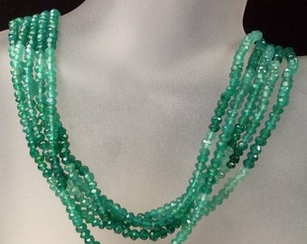 ON SALE Shaded Green Onyx Beads Faceted Rondelles Rondels Roundels Earth Mined Gemstone - 6.5 Inch Strands - 3.5 to 4mm Rondelles