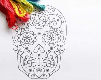 Sugar Skull Hand Embroidery Pattern Day of the Dead PDF Pattern Mexican Wedding DIY