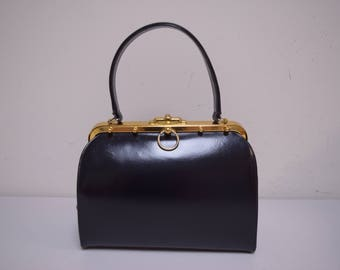 VINTAGE CORONETTE Black Leather Top Handle Handbag Studs Made in Canada