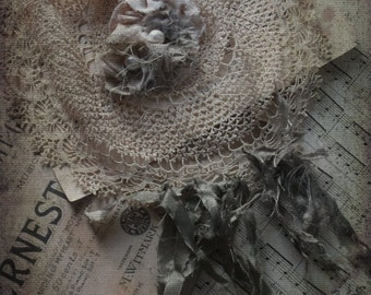 Boho Crochet Bib Necklace. Ecru Sage Green Woodland. Mori Girl. Handmade Bohemian Accessories