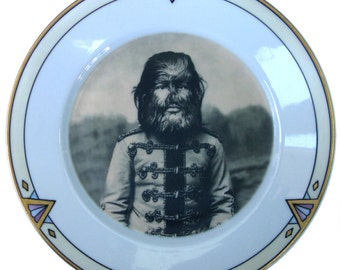 """JoJo The Dog Faced Boy - Altered Antique Plate 7.75"""""""