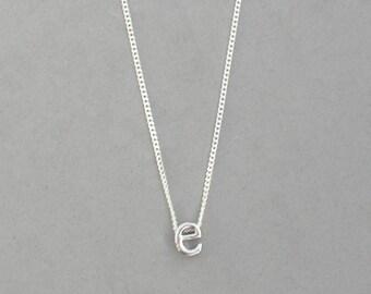 Rhodium Initial e Necklace