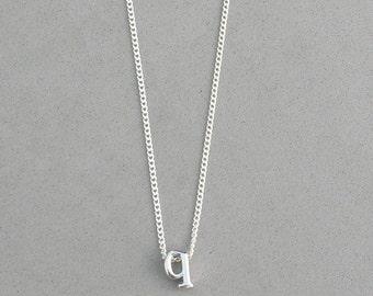 Rhodium Initial q Necklace