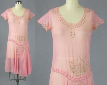 1920s Dress, 20s Dress, Pink Beaded Flapper Dress with Provenance, Downton Abbey Jazz Age Dress, XS