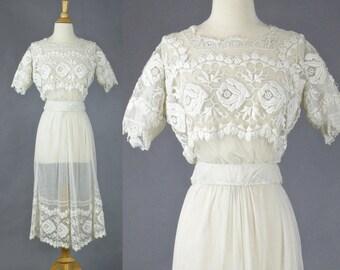 Edwardian Dress, Antique Embroidered Tambour Net Lace Dress, 2pc Edwardian Wedding Dress, XXS
