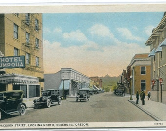 Jackson Street Cars Roseburg Oregon 1920s postcard