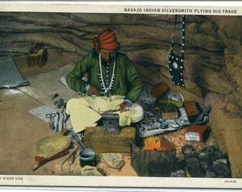 Navajo Silversmith Native American Indian 1939 linen postcard