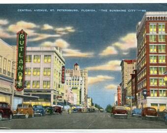 Central Avenue St Petersburg Florida linen postcard