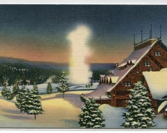 Old Faithful Inn Geyser Winter Scene Yellowstone National Park Wyoming linen postcard