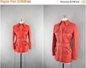SALE - Vintage 1960s Leather Jacket / 60s Leather Coat / Mod Red Orange / Vintage Car Coat / Spain / Size Medium M