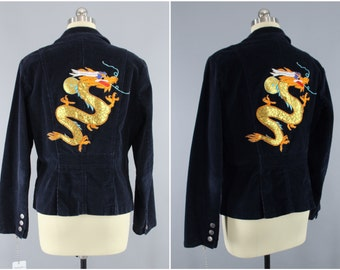 Golden Dragon Embroidered Jacket / Navy Blue Corduroy Blazer / Dragons Embroidery / Size L Large
