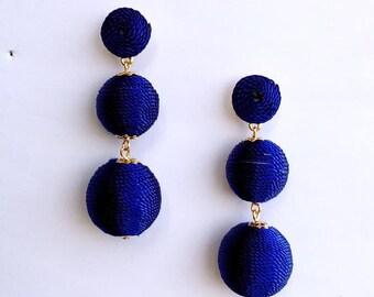 Blue Cord wrapped Les Bonbon bon bon Earrings
