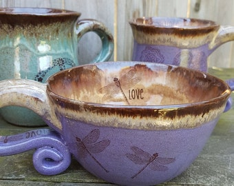MADE TO ORDER Dragonfly Coffeehouse Oversized Coffee Mug Latte mug Blue Brown Rustic Earthy stoneware pottery wheel thrown pottery mug