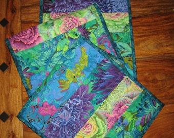 "Quilted Table Runner, Kaffe Fassett Bright Blue Green and Purple Summer Decor, Reversible 13 x 66"" 100% cotton fabrics"