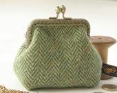 NEW Bronze metal frame coin purse/green rhinestones/ Green herringbone Harris tweed/ Liberty tana lawn