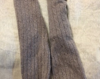 Cashmere Arm Warmer Fingerless Gloves Tan Camel Upcycled Cashmere Sweater B11