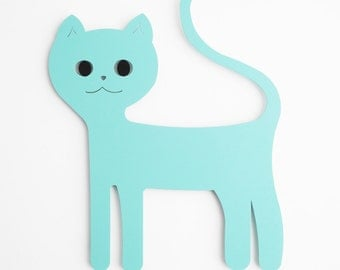 Cat wall hanging. Blue cat. Magnetic board cat.  Cat decor.  Cat lover. Wall nursery decor, Wall childrens decor. Baby wall decor. Wall cat.