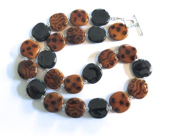 Kazuri Bead Necklace, African Design Beads, Ceramic Necklace, Brown and Black Kazuri Necklace