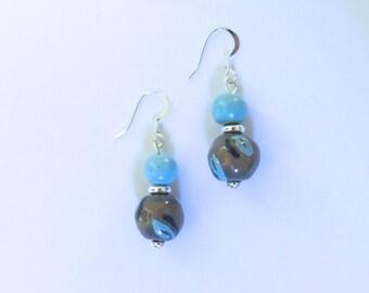 Kazuri Earrings, Blue and Grey Ceramic Earrings