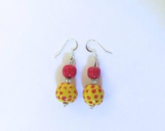 Kazuri Earrings, Yellow with Red Spots Ceramic Earrings
