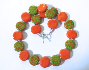 Ceramic Jewelry, Kazuri Bead Necklace in Orange and Green