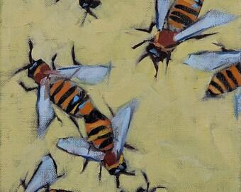 Honey Bees, Original Oil Painting